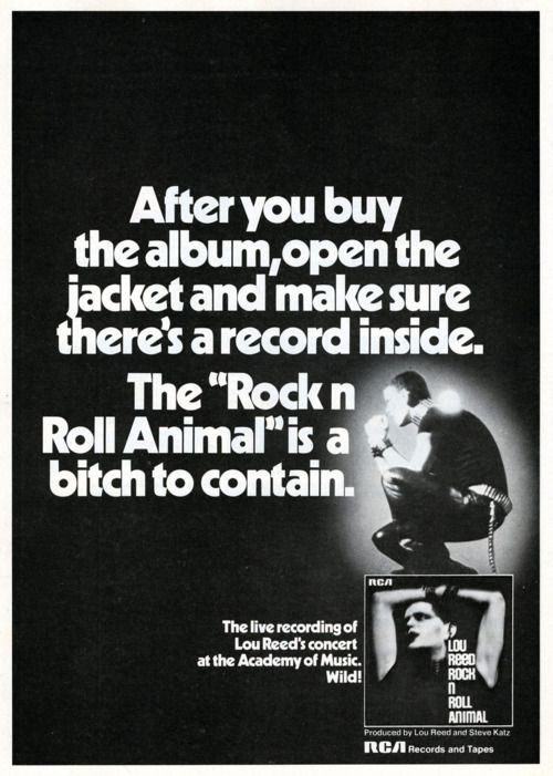 Lou Reed - Rock n Roll Animal - Vintage Music Ad