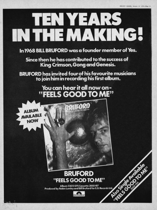Bruford - Feel Good to Me - Vintage Music Ad