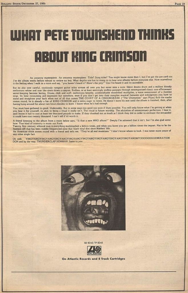 King Crimson - In the Court of the Crimson King - Vintage Music Ad