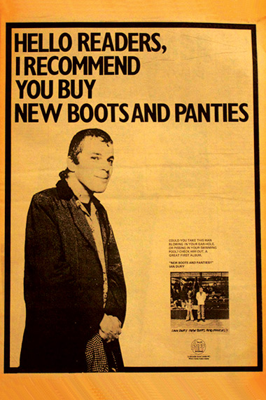 Ian Dury - New Boots and Panties - Vintage Music Ad