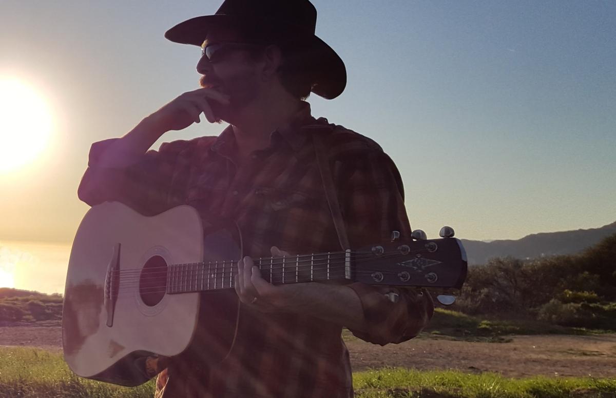 Gayle Ellett of Djam Karet in the countryside of Southern California