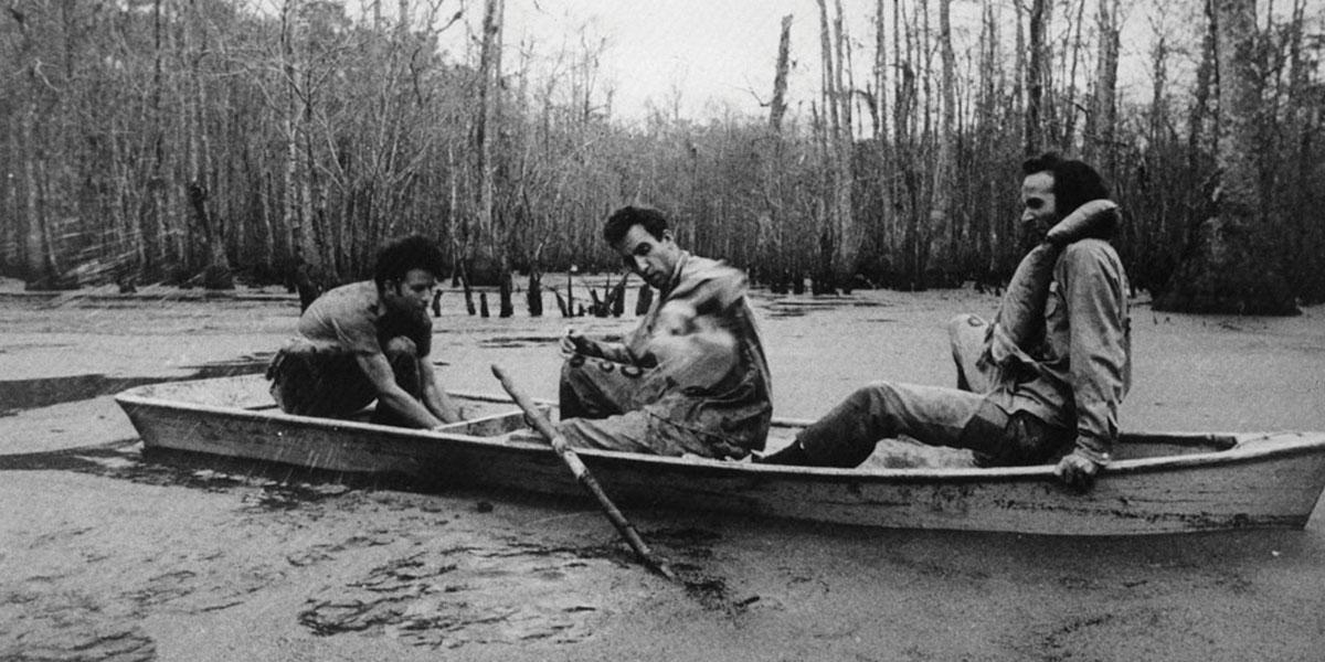 Down By Law - A Film by Jim Jarmush - Location: Louisiana Swamps - Actors: John Lurie, Roberto Benigni, Tom Waits